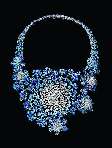 <p><em>Doudou Necklace</em>, 2009<br /> Sapphires, diamonds, white gold<br /> Made by Boucheron; 9 7/16 x 7 1/16 x 1 15/16 in. (24 x 18 x 5 cm)<br /> Mr. Tomasz Gudzowaty Private Collection</p>