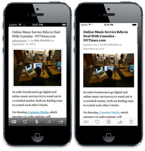 <p>The goal for Betaworks? Preserve Instapaper's core functionality while designing an interface consistent with the new iOS paradigms.</p>