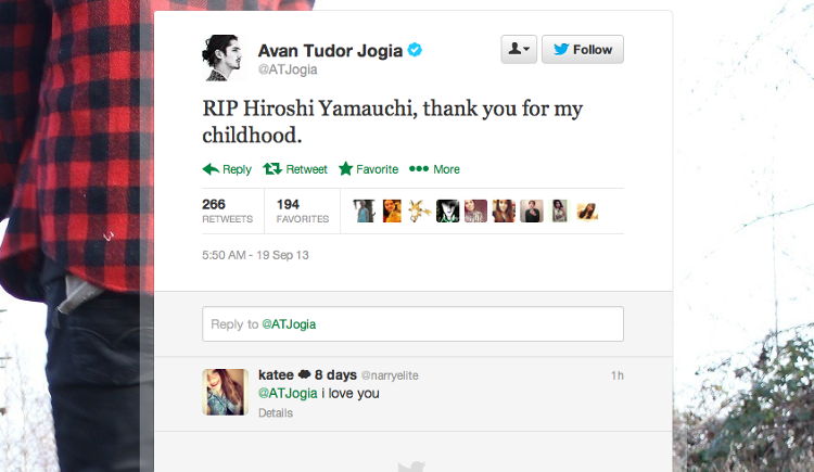<p>Canadian actor Avan Tudor Jogia left this tribute on Twitter. [Image: <a href=&quot;https://twitter.com/ATJogia/status/380630003962363904&quot; target=&quot;_blank&quot;>Twitter</a>]</p>