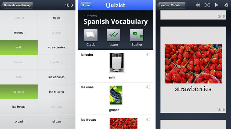 <p>Quizlet is the ultimate study guide, allowing users three different modes (Flash cards, learn, and scatter) to, well, learn. The app hooks up with Quizlet's website and gives users access to over 20 million flash card sets and custom quizzes. And if you can't find what you need, you can always create your own!</p>