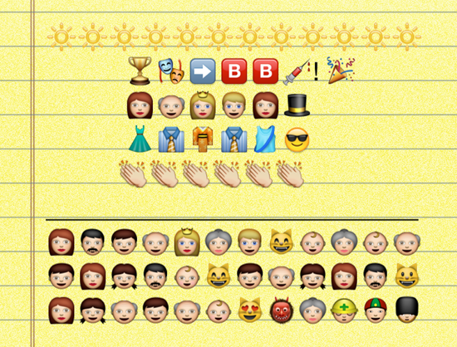 <p><em>Breaking Bad</em> wins for drama (duh), and Heisenberg returns in emoji form, though to be clear, Bryan Cranston did not appear in character. One of these awards-show gowns may, in fact, be a kimono with Obi.</p>  <p>The audience claps, claps, claps, in huge relief after that earlier Jeff Daniels triumph over Cranston (and Kevin Spacey and ...). They're still baffled.</p>