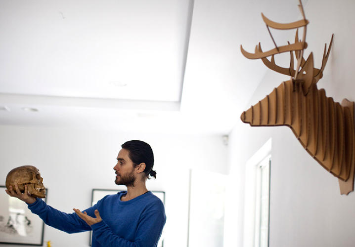 <p>Jared Leto in his home, where he currently runs all his businesses.</p>