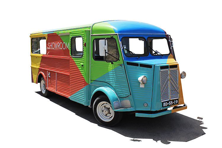 <p>The Vertty bus, a retro '55 Citroen HY painted with the same geometric flavors the towels come in, serves as the company's portable flagship and an avatar for the brand's hip ethos.</p>
