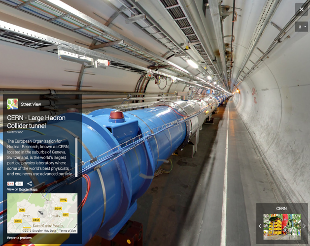 <p>CERN is enormous, so it took the Street View team about two weeks to image the whole thing back in 2011.</p>