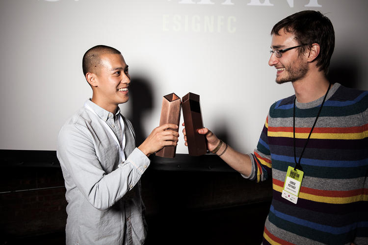 <p>Jason Chua of SparkTruck and Decelerator Helmet Designer Lorenz Potthast with their Innovation By Design Awards.</p>