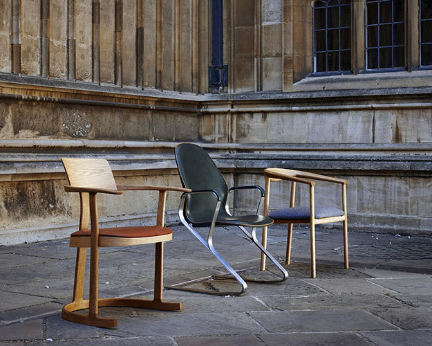 <p>The three shortlisted entries in Oxford's competition to redesign the Bodleian Library chair. Barber and Osgerby's winning design is on the left.</p>