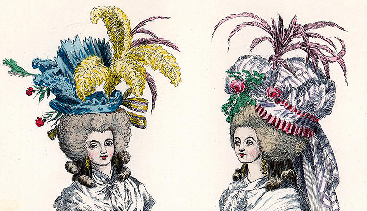 <p>Marie Antoinette's peacock plumed headdresses were one tiny detail of a vast wardrobe of frills and bustles in muted pastels. Sometimes eating cake and being royal got tiring, though, and the French queen and her ladies played at being milkmaids in simple white muslin dresses. Her games of dress-up came to an end in 1789, when her three rooms of clothing at Versailles were destroyed in the Revolution.</p>