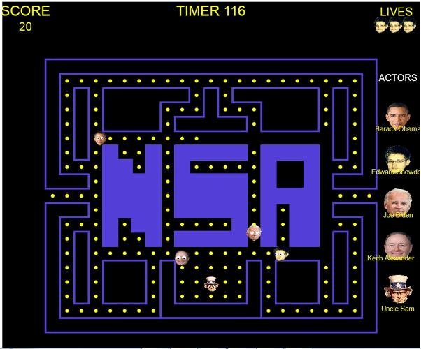 <p>Snowden Pacman flees President Obama and NSA Director General Keith Alexander.</p>