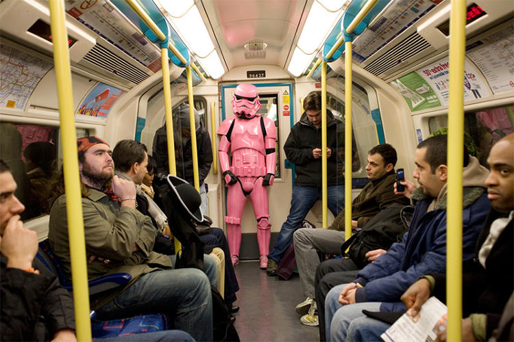 <p>Another part of &quot;Art Wars&quot; is Ben Moore's &quot;Pink Storm,&quot; in which he dresses up as a pink Stormtrooper costume and hangs out at protests, art museums (he was mistaken for a sculpture at the Tate Modern once), and on public transportation, or photographs himself next to uniformed police and armed guards to create strange juxtapositions.</p>