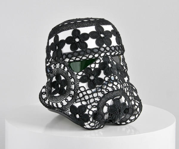<p>Crocheting really helps this trooper relax after a long day at work.</p>  <p>Joana Vasconcelos, 'Crochet Vader.'<br /> Acrylic capped ABS Stormtrooper head, Azores crocheted lace<br /> 31 x 33 x 35 cm<br /> © Unidade Infinita Projectos.<br /> 2013. Signed by Joana Vasconcelos and Andrew Ainsworth.</p>