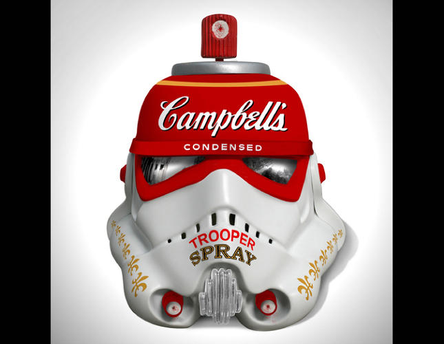 <p>Channeling Warhol with Campbell's Condensed Trooper Spray (force-infused chicken broth?).</p>  <p>Mr. Brainwash helmet. Acrylic Capped ABS Storm Trooper head by Mr Brainwash. 2013. Signed by Mr Brainwash and Andrew Ainsworth. Image: Bran Symondson</p>