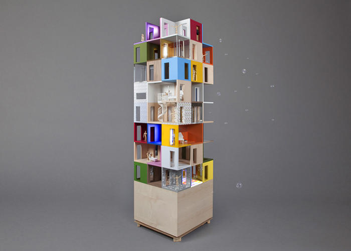 <p>Stacking is a big theme, which is perhaps attributable to the small footprint. The Doll's House by Lifschutz Davidson Sandilands is the tallest of the lot, imagining a vertical village of plug-in units, all exhibiting a personalized sense of color.</p>
