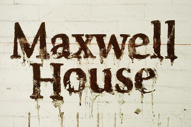 <p>A dry-rubbed Maxwell House logo.</p>