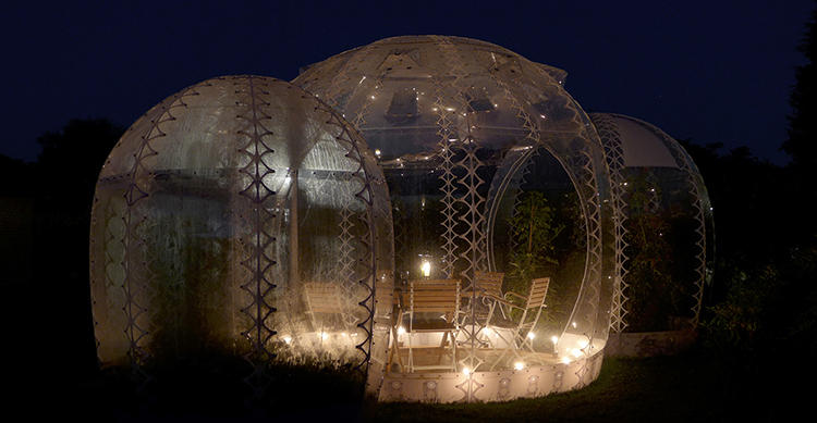 <p>The houses comes in clusters of transparent egg- and bubble-shaped pods.</p>