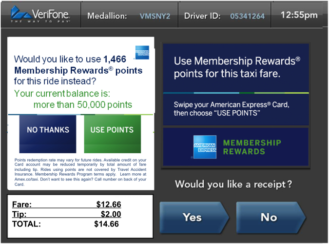 <p>The pay-with-points option will operate on a conversion rate of 100 points to the dollar, so a $10 cab ride would be 1,000 points.</p>