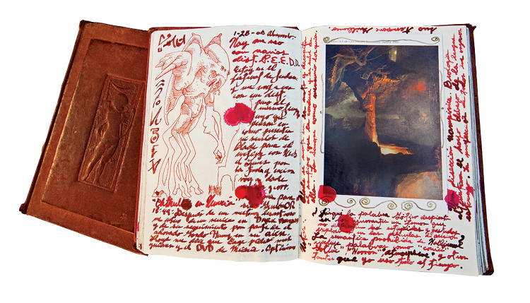 <p>Del Toro embellished these pages with splotches of fake blood and symbols drawn from fantasy author H.P. Lovecraft.</p>