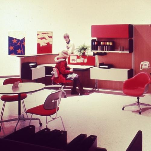 <p>An Action Office tableau from &quot;The Design Process at Herman Miller&quot; at the Walker Art Center, 1975.</p>