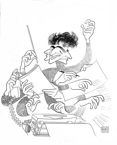 <p><em>Leonard Bernstein,</em> date unknown. Shadow puppets from Hirschfeld's personal collection are featured at the NYPL exhibition, with an exploration of their impact on his work.</p>