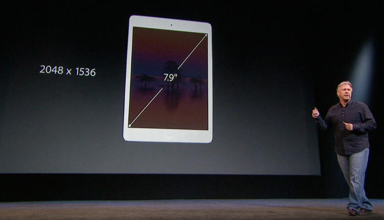 <p>Phil Schiller with the specs on the iPad Mini with Retina Display</p>