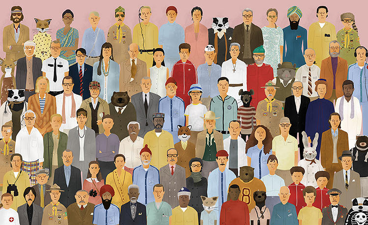<p><em>The Wes Anderson Collection</em> includes original illustration by <a href=&quot;http://maximdalton.com&quot; target=&quot;_blank&quot;>Max Dalton</a>, like this cast of characters from Anderson's films.</p>