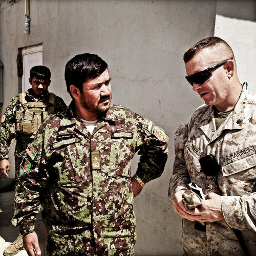<p>Lt. Col. Phil Treglia (right) and his Afghan National Army counterpart, 1/215 commander Gen. Muhammed Ali Shujai.</p>