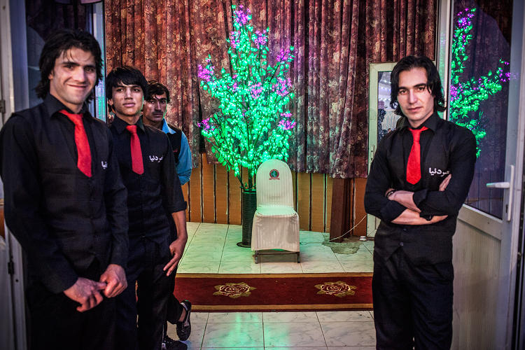 <p>Waiters at the Dunya Wedding Hall, Kabul.</p>