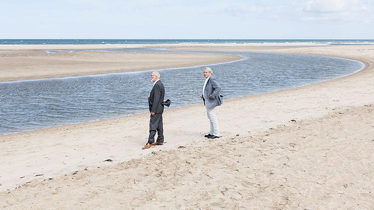 <p>While U.S. cities may be falling behind in the race to prepare for disasters, things are different in the Netherlands. Here, Marcel Stive, left, and Huib de Vriend stand on an outcropping they designed to fortify the shoreline.</p>
