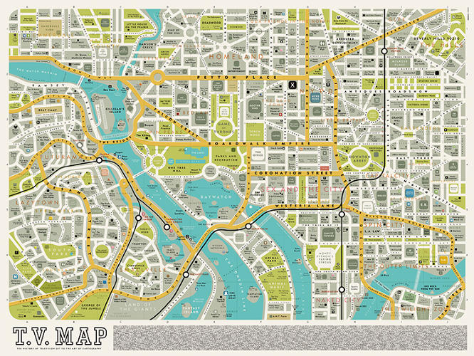 <p>The T.V. Map by Dorothy envisions a fictional Washington D.C. made of television shows, not politicians.</p>