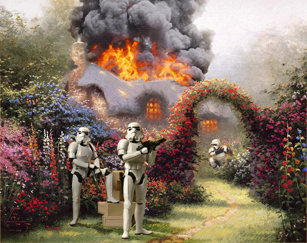 <p>In Bennett's revisions, this fire has spread to the cottage's roof.</p>