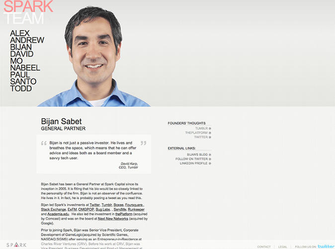 <p>Like many VC firms, Spark Capital has been iterating their website to become more design-minded. This is their version one profile page. Not bad.</p>