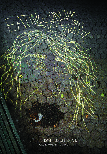 <p>Chalk-drawn portraits of the homeless will also highlight the realities of street life to passersby.</p>
