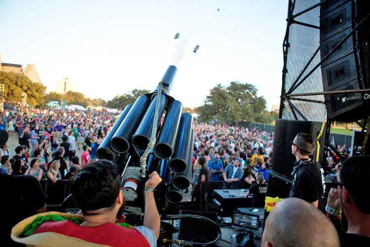 <p>Fun Fun Fun earned national press for inventing the world's first Taco Cannon--a contraption made of a dozen T-shirt cannons fused together to shoot tacos into a crowd. Texans love tacos, after all.</p>