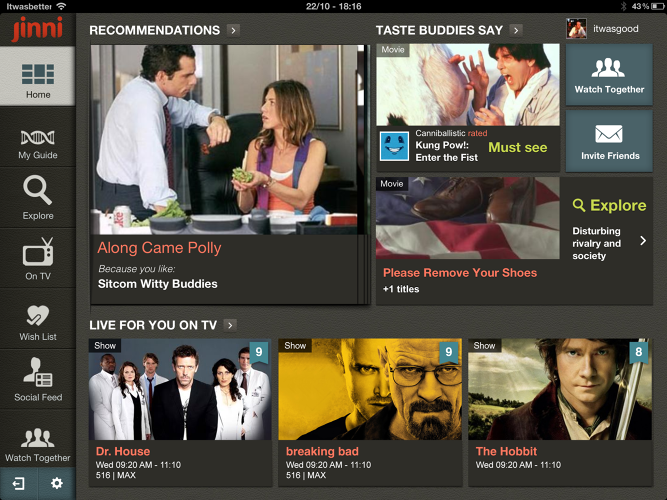 <p>The dashboard on the iPad app shows what friends with similar tastes are watching as well as recommendations on streaming services and live television.</p>