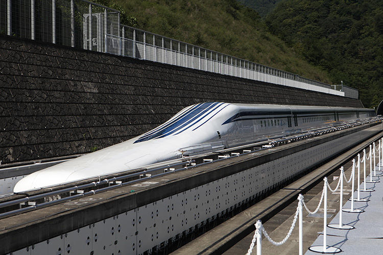 <p>The train--like this one in Japan--would run on a bed of air, levitated by a series of electromagnetic coils located on the track.</p>