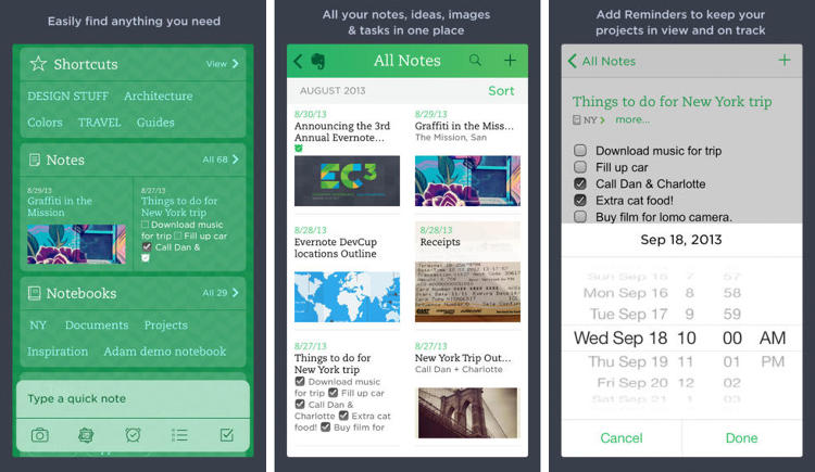 <p>With millions of downloads, <a href=&quot;http://www.fastcompany.com/3018606/tech-forecast/the-future-according-to-evernotes-ceo-is-not-paperless&quot; target=&quot;_self&quot;>Evernote</a> is one of the most popular productivity apps to date. It allows users to &quot;remember anything&quot; through notes, photos, to-do lists, and voice reminders. It's also completely searchable and works across multiple devices. (<a href=&quot;https://itunes.apple.com/us/app/evernote/id281796108&quot; target=&quot;_blank&quot;>iOS</a> and <a href=&quot;https://play.google.com/store/apps/details?id=com.evernote&quot; target=&quot;_blank&quot;>Android</a>)</p>