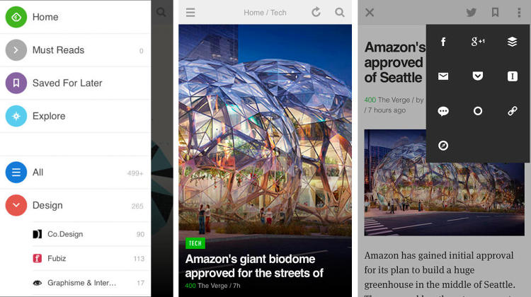 <p>Google reader is dead and you've had to reboot the way you read news. Good thing there's Feedly, a customizable sort-of-RSS-Reader news-organization tool that's easy on the eyes and rich in content. (<a href=&quot;https://itunes.apple.com/ca/app/feedly-news-reader.-blogs/id396069556?mt=8&quot; target=&quot;_blank&quot;>iOS</a> and <a href=&quot;https://play.google.com/store/apps/details?id=com.devhd.feedly&quot; target=&quot;_blank&quot;>Android</a>)</p>