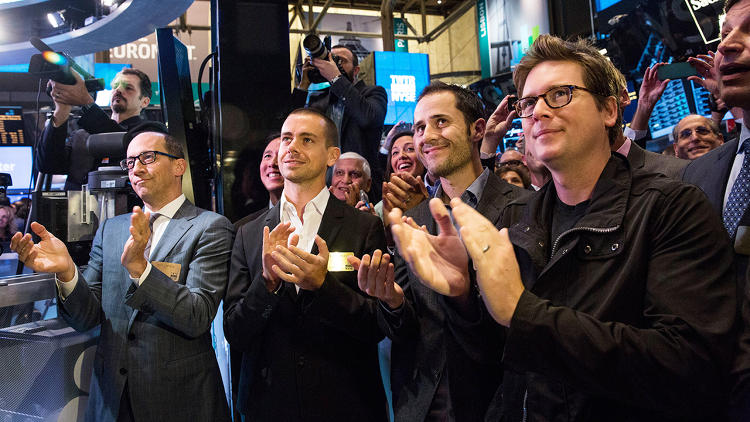 <p>(L-R) Twitter CEO Dick Costolo, Twitter cofounder Jack Dorsey, Twitter cofounder Evan Williams, and Twitter cofounder Biz Stone applaud as Twitter rings the opening bell at the New York Stock Exchange (NYSE).</p>