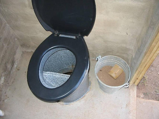 <p>For the less technologically advanced, there is the urine diversion dehydration (UDD) toilet (this one is in South Africa). This kind of toilet has two compartments: one for feces and one for urine. This kind of toilet is similar to the composting toilet--feces are dried and composted or managed via aerobic decomposition.</p>