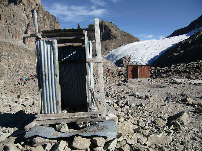 <p>A precarious-looking--but functional--toilet for hikers in Kenya. Any toilet is better than no toilet at all.</p>