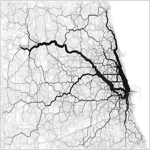 <p>The starting and ending points of each trip come from a pair of geotagged tweets by the same person, and the path in between them is an estimate, routed along the densest corridor of other people's geotagged tweets.</p>