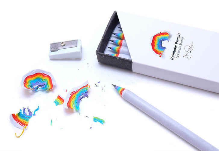 <p>These <a href=&quot;http://www.fastcodesign.com/3022027/wanted/this-pencil-is-a-masterclass-in-interaction-design&quot; target=&quot;_self&quot;>pencils</a>, made out of multicolored layers of recycled paper, create miniature rainbows as you sharpen them. A pack costs $15. Would-be sharpeners should <a href=&quot;http://dshott.co.uk/rainbow&quot; target=&quot;_blank&quot;>contact the makers</a> to hear about the next round of production.</p>