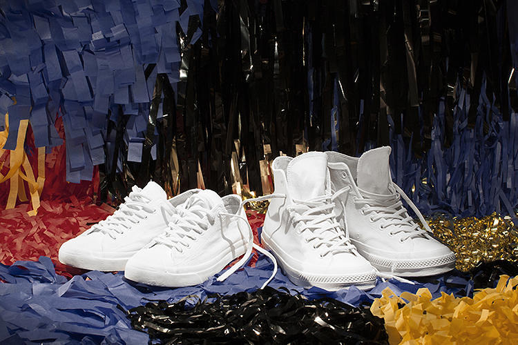 <p>French fashion house collaborated with classic American shoe brand Converse All-Star, and dunked the Chucks in all-white paint. The whitewashed <a href=&quot;http://www.fastcodesign.com/3017816/wanted/converse-all-stars-get-the-margiela-treatment&quot; target=&quot;_self&quot;>Converse x Maison Martin Margiela collaboration</a> goes for $200 a pair, <a href=&quot;http://play.converse.com/blog/2013/09/17/converse-x-maison-martin-margiela-collection/&quot; target=&quot;_blank&quot;>here</a>.</p>