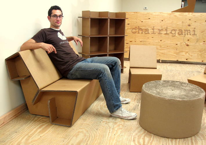 <p>Chairigami's furniture is <a href=&quot;http://www.fastcoexist.com/1682668/could-this-cardboard-furniture-replace-your-ikea-chairs-and-bookshelves&quot; target=&quot;_self&quot;>made from recycled cardboard </a>and there's no assembly required: They don't use any glue or fasteners.</p>