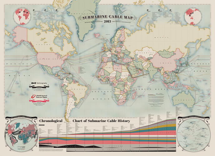 <p>Cables that are a little more than two inches thick line our ocean floors, culminating in more than half a million miles in length, transmitting terabytes of data across the globe every second. Combined, they add up to more than half a billion miles of underseas cabling that power the Internet. <a href=&quot;http://www.fastcodesign.com/1671777/infographic-the-550000-miles-of-undersea-cabling-that-powers-the-internet&quot; target=&quot;_self&quot;>And here's where all of them are</a>.</p>