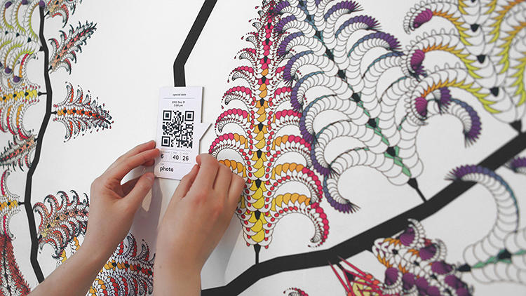 <p>Using a set of algorithms and a custom application to analyze four years of Facebook data, onformative turned likes and comments into a colorful, almost paisley-esque data tree to decorate the store's 8 meter long Gallery Wall.</p>