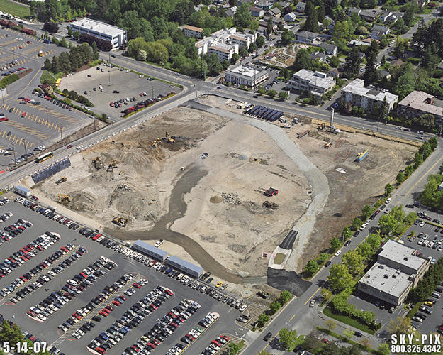 <p>The new project aims to improve things for the salmon again, and turned a big chunk of the parking lot into a 'bioswale,' a park that filters out pollution before it can reach the creek.</p>