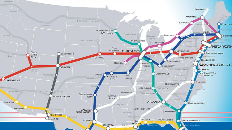 <p>Imagine if the entire country was linked by 220-mile-per-hour trains. <a href=&quot;http://www.fastcoexist.com/1681342/a-beautiful-vision-of-an-american-high-speed-rail-map&quot; target=&quot;_self&quot;>That's what this map does.<br /> </a></p>