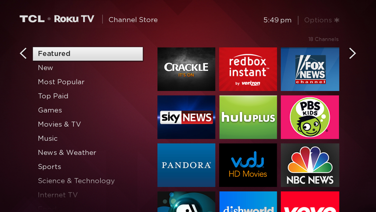 <p>The channel store on the TCL Roku TV.</p>