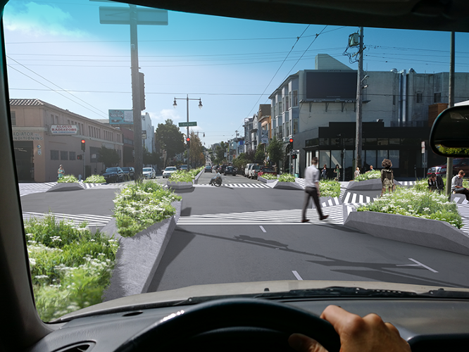 <p>A new design for intersections would allow cars and pedestrians share San Francisco's city streets.</p>