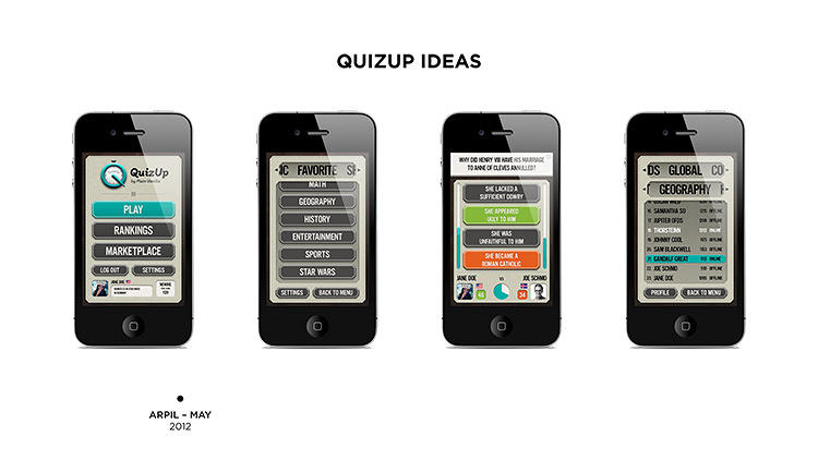 <p>The first iteration of QuizUp featured a generic and clunky interface. &quot;You can see some pretty horrible UI here--everything looks out of proportion,&quot; chief design officer Sveinn Davidsson says.</p>